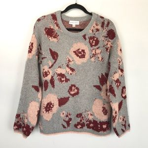 Knox Rose floral print crew neck sweater grey pink